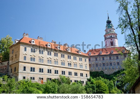 Cesky Krumlov the castle in the summer - stock photo