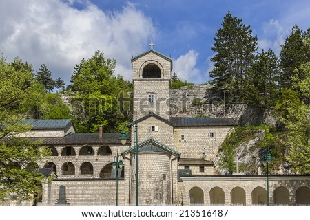 Cetinje Monastery is a Serbian Orthodox monastery in Montenegro - seat of the Metropolitanate of Montenegro and the Littoral. It was founded between 1701 and 1704 by Prince Bishop Danilo. - stock photo