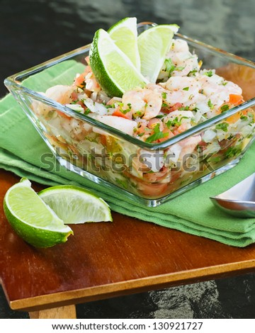 Ceviche and Chips - stock photo
