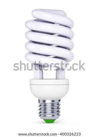 CFL energy saving bulb. Fluorescent lamp isolated on white background. 3D illustration - stock photo