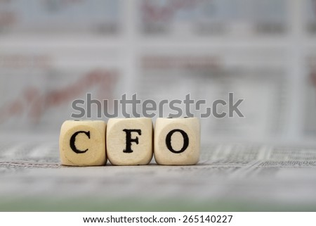 CFO built with letter cubes - stock photo