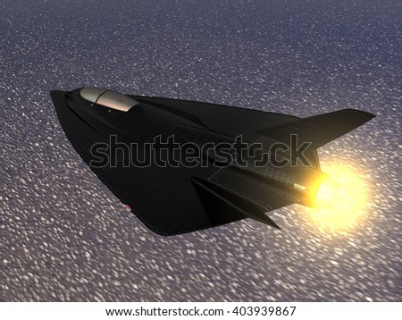 CG illustration of a futuristic fictional black delta wing stealth fighter aircraft flying in afterburning mode at high speed over the sea. 3D illustration - stock photo