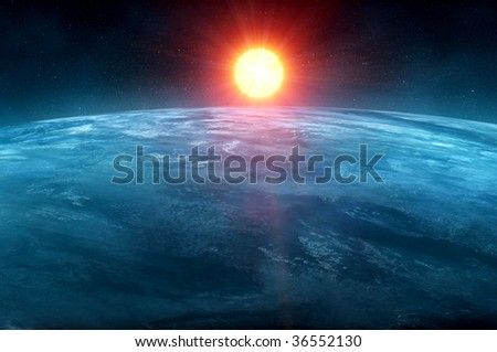 CG sun and earth - stock photo