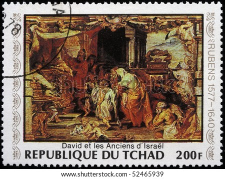CHAD - CIRCA 1978: A post stamp printed in Republic of Chad shows draw by Peter Paul Rubens - David and the elders of Israel, circa 1978 - stock photo