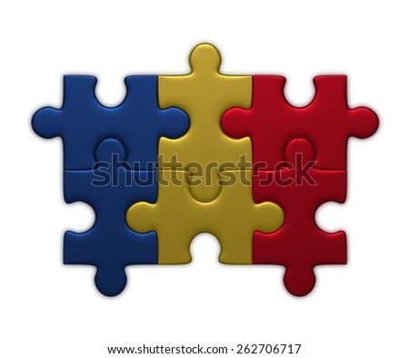 Chad flag assembled of puzzle pieces isolated on white background - stock photo