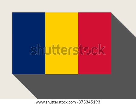 Chad flag in flat web design style. - stock photo