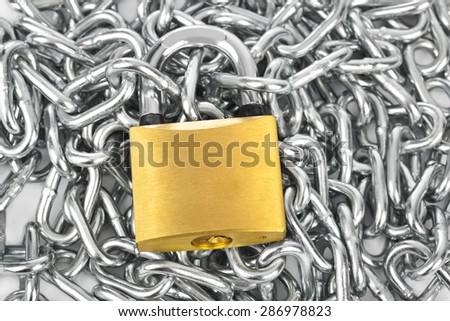 Chain and lock - security background - stock photo