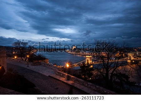 Chain Bridge and Danube river in Budapest at night, Hungary - stock photo