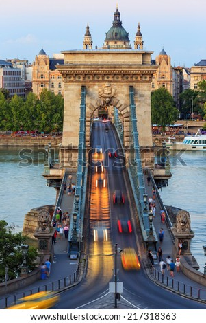 Chain Bridge, Budapest, Hungary - stock photo