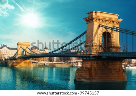 Chain bridge Budapest Hungary - stock photo