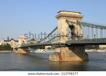 Chain Bridge in Budapest, Hungary - stock photo