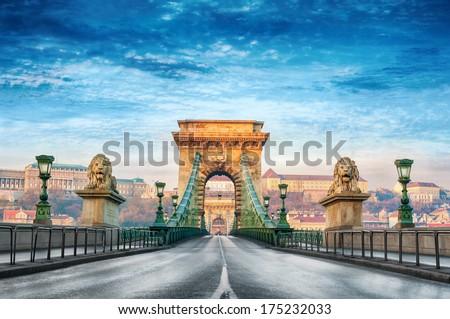 Chain bridge in Budapest, Hungary. - stock photo