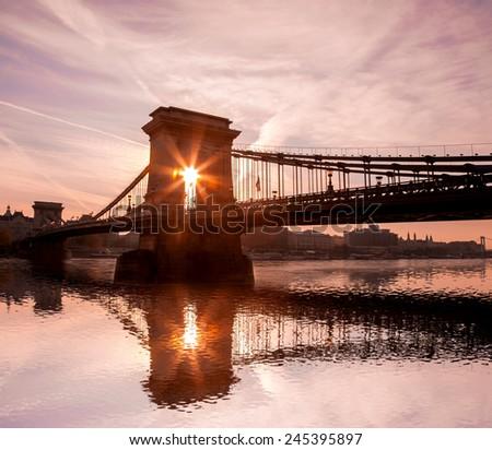 chain bridge in the evening, Budapest, Hungary - stock photo