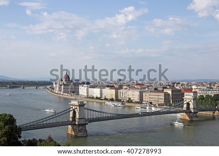 Chain bridge on Danube river Budapest cityscape Hungary - stock photo