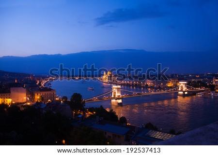 Chain bridge panorama view at night in Budapest - stock photo