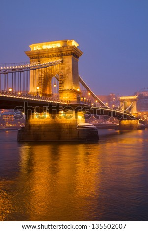 Chain Bridge (Szechenyi lanchid) and Danube river at night, Budapest, Hungary - stock photo
