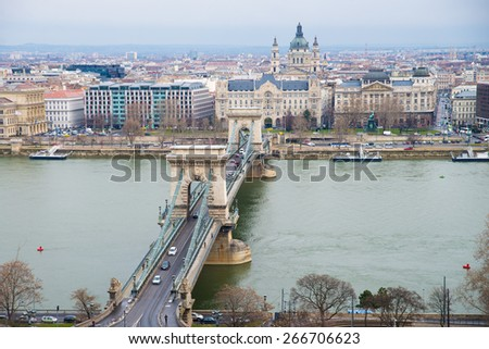 Chain Bridge  the view from the Buda Castle - stock photo