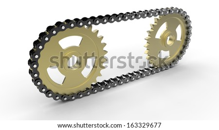Chain drive and gears isolated on white background - stock photo