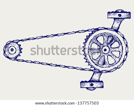 Chain gears. Doodle style. Raster version - stock photo