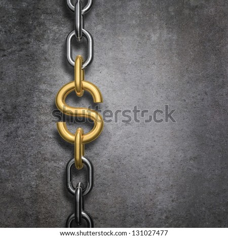 Chain link dollar - stock photo