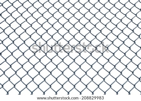 Chain Link Fence With Clipping Paths In Spaces - stock photo
