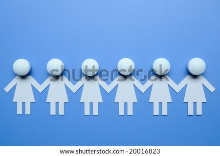 Chain of female figures - stock photo