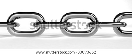 Chain on white background (3d rendering) - stock photo