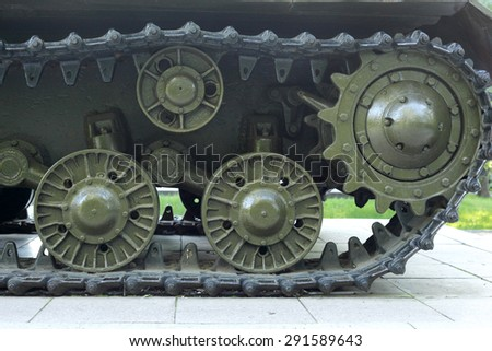 chain tracks of the tank - stock photo