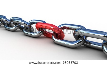Chain with a red link, 3D images - stock photo