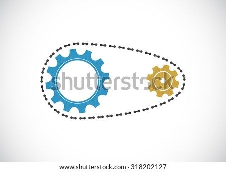 chain with gears mechanism icon - stock photo