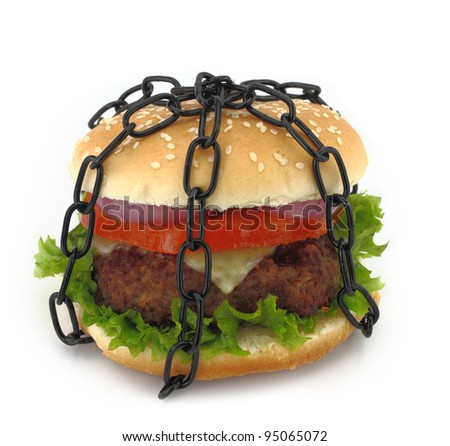 Chained burger - stock photo