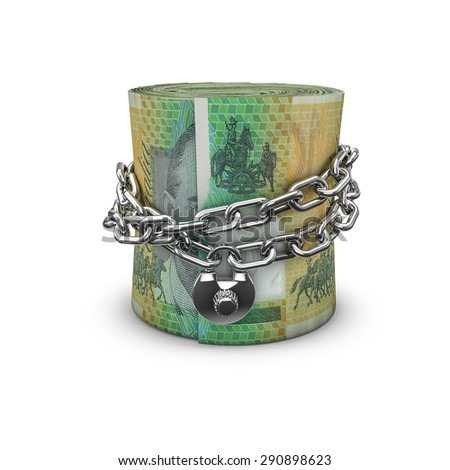 Chained money roll Australian dollars, 3D render of locked chain around rolled up Australian hundred dollar bills - stock photo