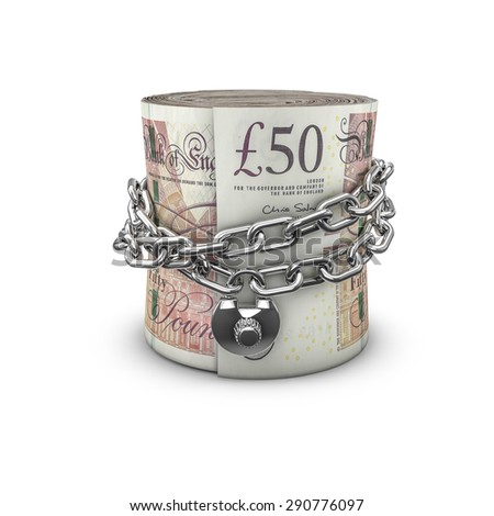Chained money roll pounds, 3D render of locked chain around rolled up fifty pound notes - stock photo