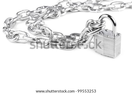 chains are closed on a lock on a white background - stock photo