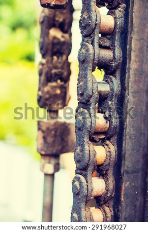 Chains on old truck - Instagram filter - stock photo