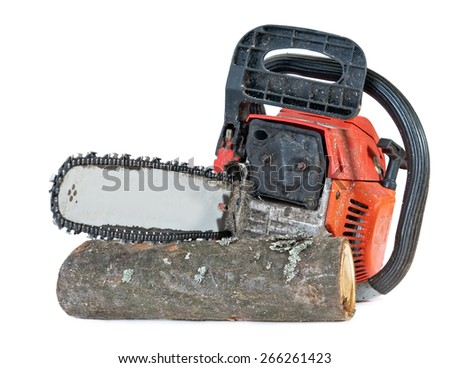 chainsaw and cut wood isolated on white background - stock photo