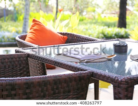 chair at summer terrace restaurant - stock photo