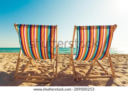 Chair, beach, deck. - stock photo