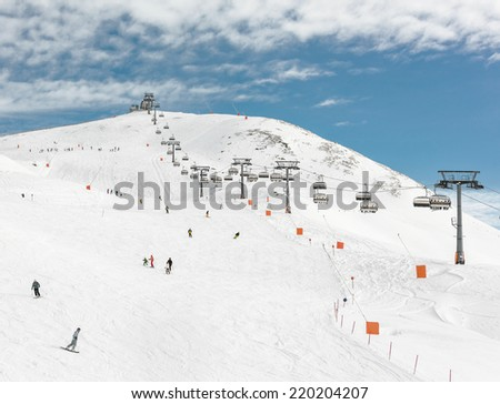 Chair lifts in a ski resort of a valley of Zillertal - Mayrhofen region, Austria - stock photo