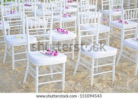 Chair setting for Wedding on the beach.  - stock photo