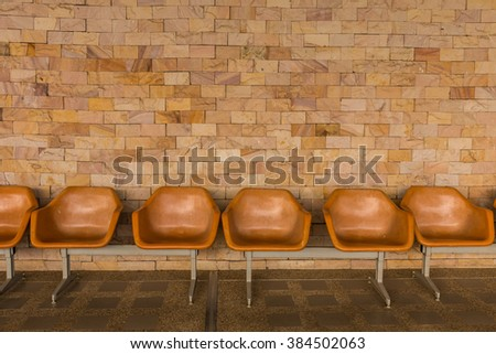 Chair, waiting for the rest of the passengers. - stock photo