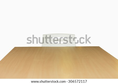 chair white and wood table, isolated on white background - stock photo