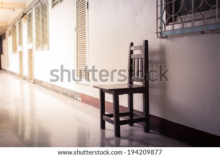Chair wood alone in the empty room on the white background. - stock photo