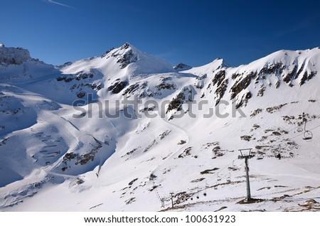 Chairlift in Molltaler ski resort, Austrian Alps - stock photo