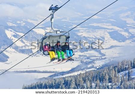 Chairlift. Ski resort Schladming . Austria - stock photo