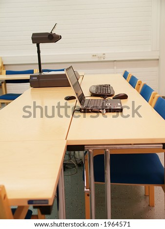 Chairman and vicechairman places in conference room, close-up - stock photo