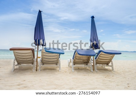 Chairs at beauty seascape under blue clouds sky  on Koh Larn Pattaya.Thailand - stock photo