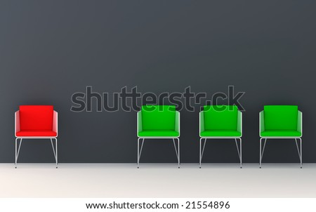 Chairs scene 3d high resolution rendering. Concept of individuality, leadership, diversity, loneliness... - stock photo