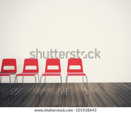 chairs to face a blank wall 3d image. - stock photo