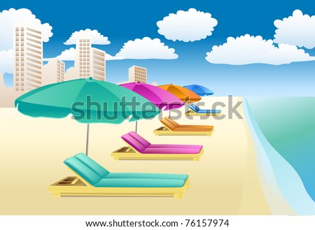 chairs with unbrellas on the beach - stock photo